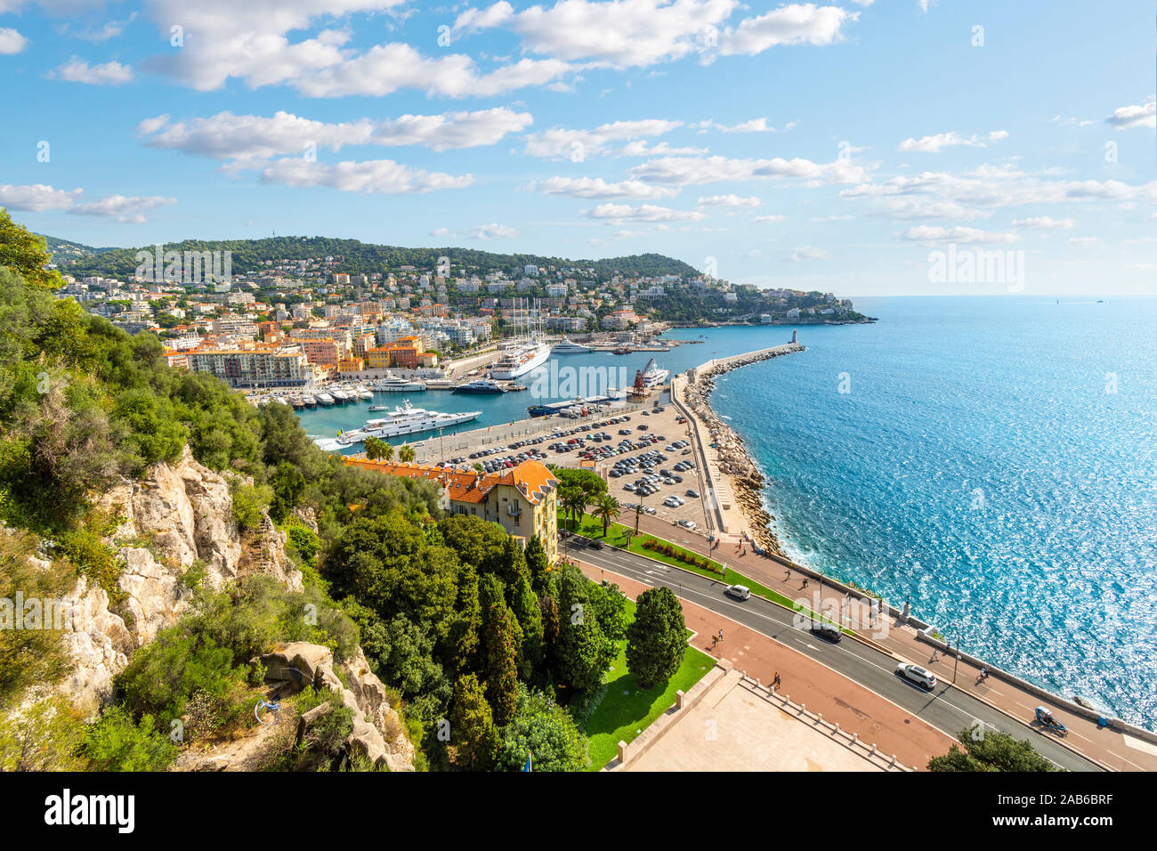 View from Castle Hill overlooking The Mediterranean Sea and the old harbor and port on the French Riviera, in Nice France. Stock Photo