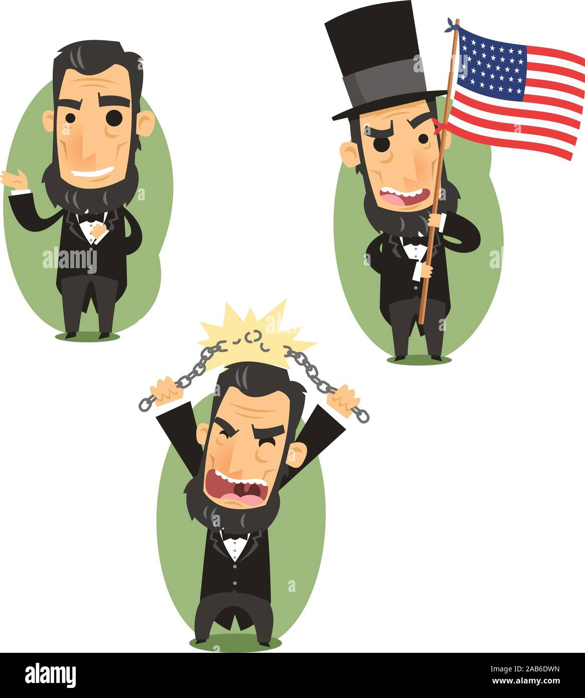 Abraham Lincoln Government Abolitionist Freedom President of the united states of america, vector illustration cartoon. Stock Vector