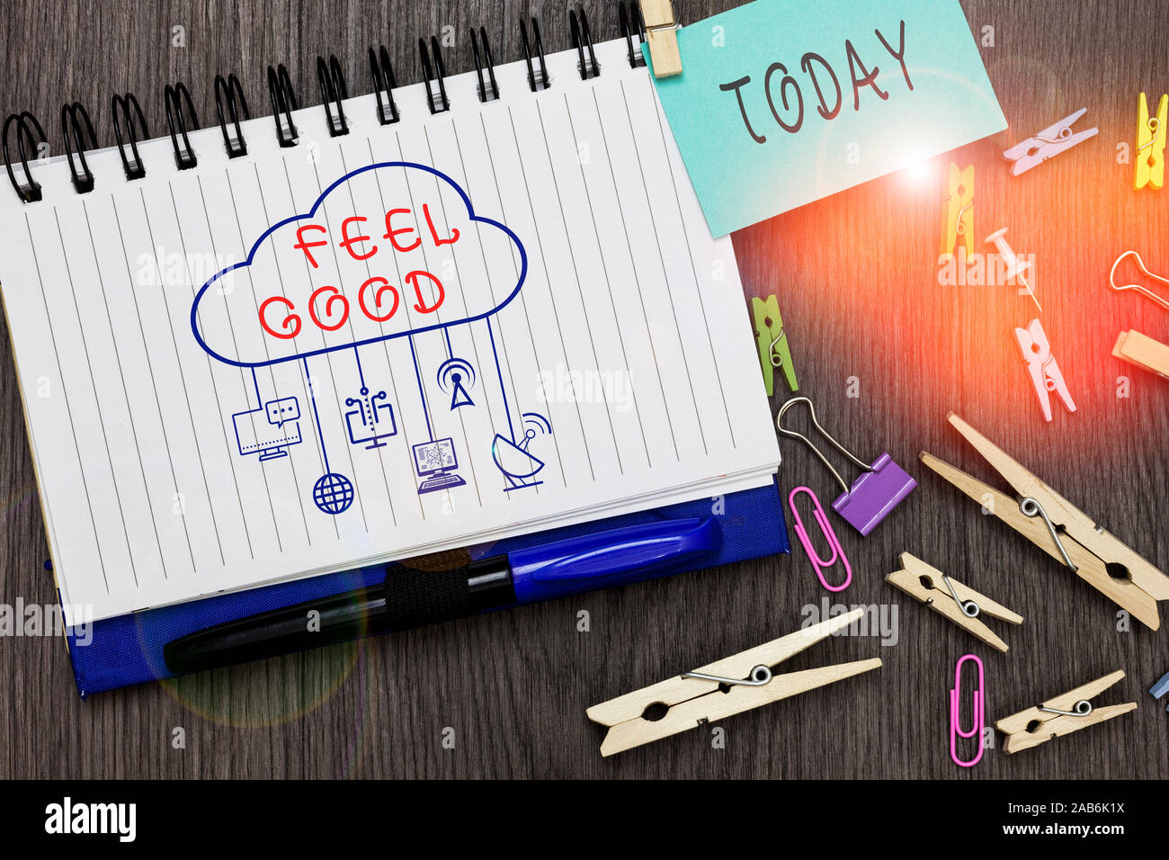 Text sign showing Feel Good. Business photo text relating to or promoting an often specious sense of satisfaction Stock Photo