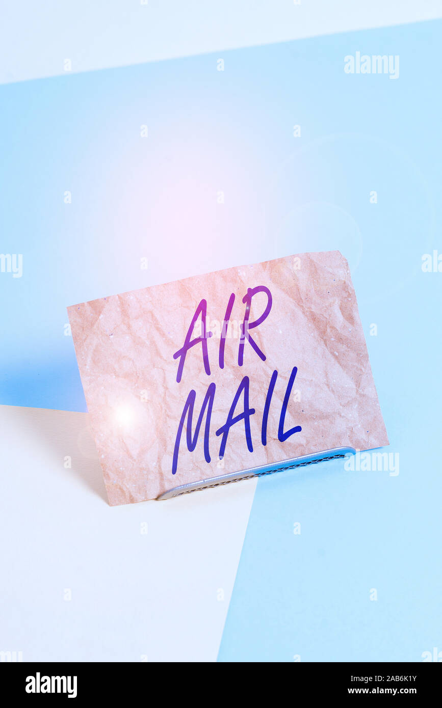 Barrio Peave Transparente  Word writing text Air Mail. Business photo showcasing the bags of letters  and packages that are transported by aircraft Paper placed tilted above buff  Stock Photo - Alamy