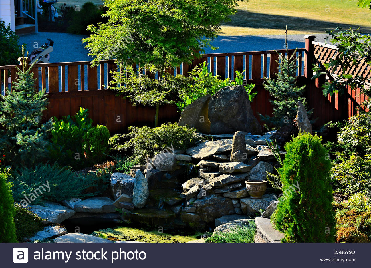 Focal Point Of Residential Garden Landscape Design With Waterfall