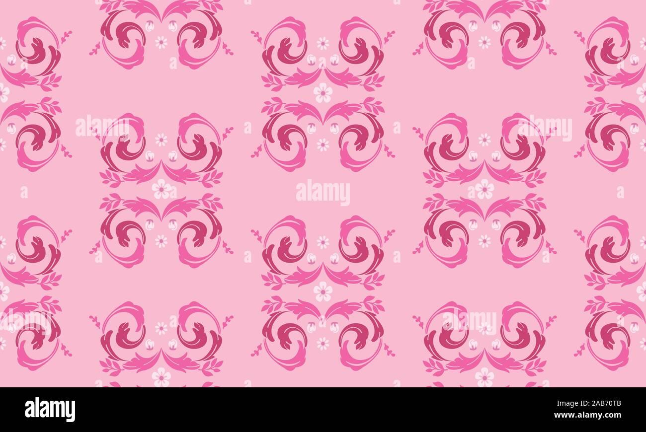 Wallpaper Floral Pattern Leaf Flower On Soft Pink Background