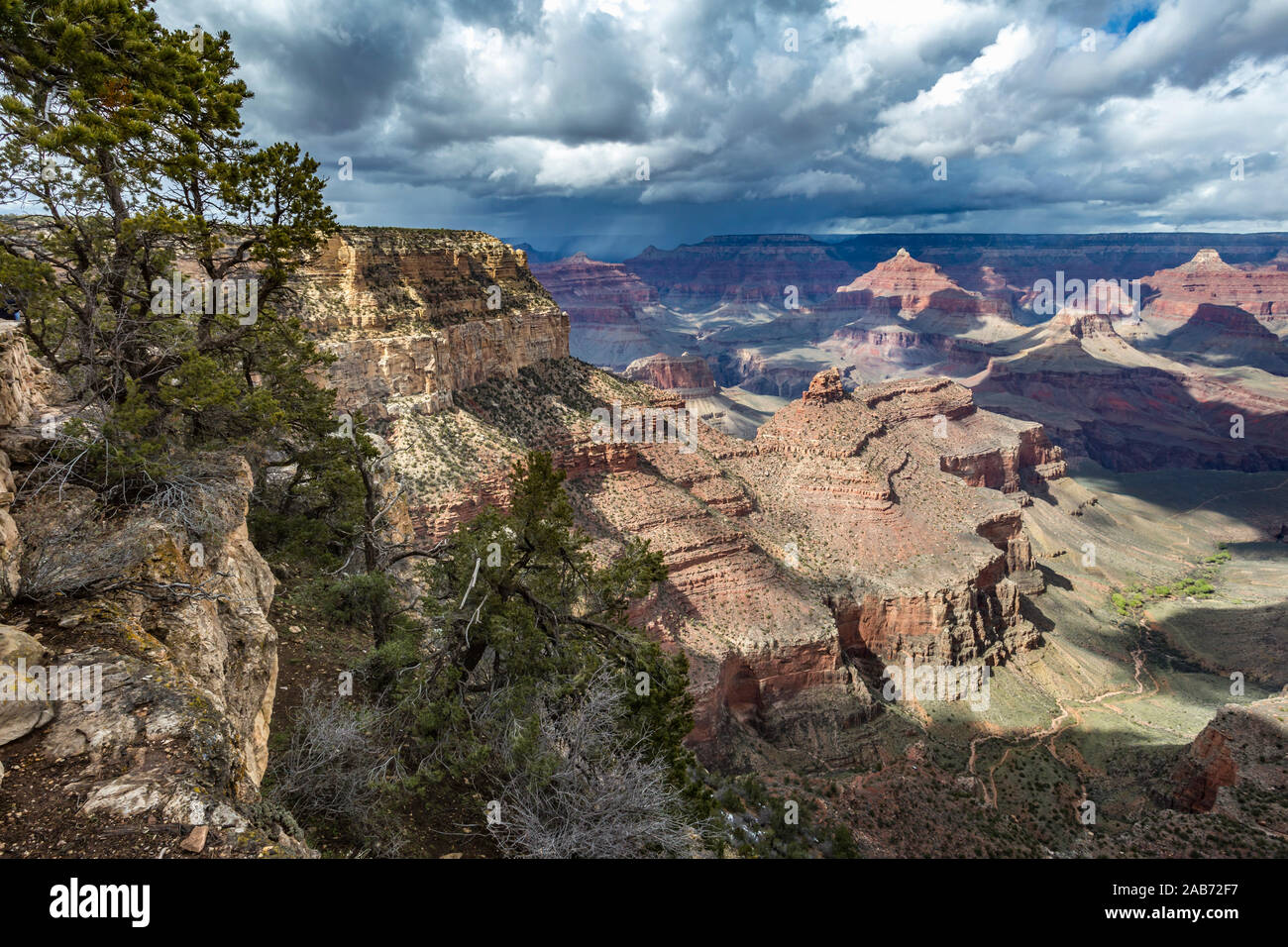 Light Winter Storm Weather Over The Grand Canyon In Northern