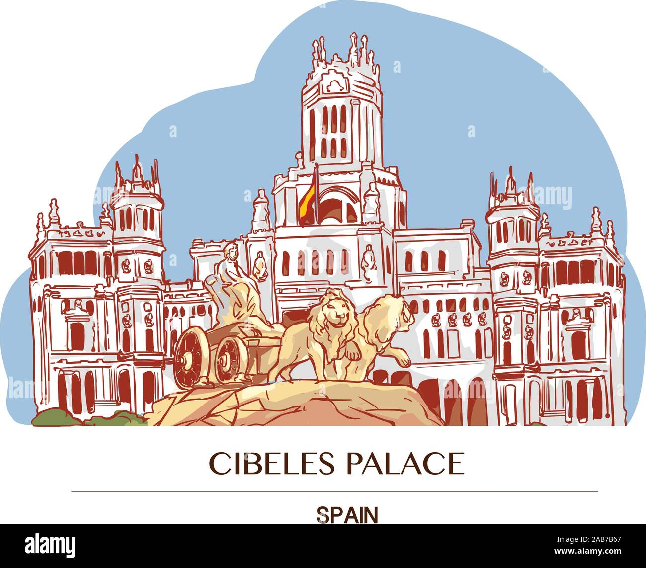 Cibeles Palace Palacio De Cibeles Madrid Spain Stock