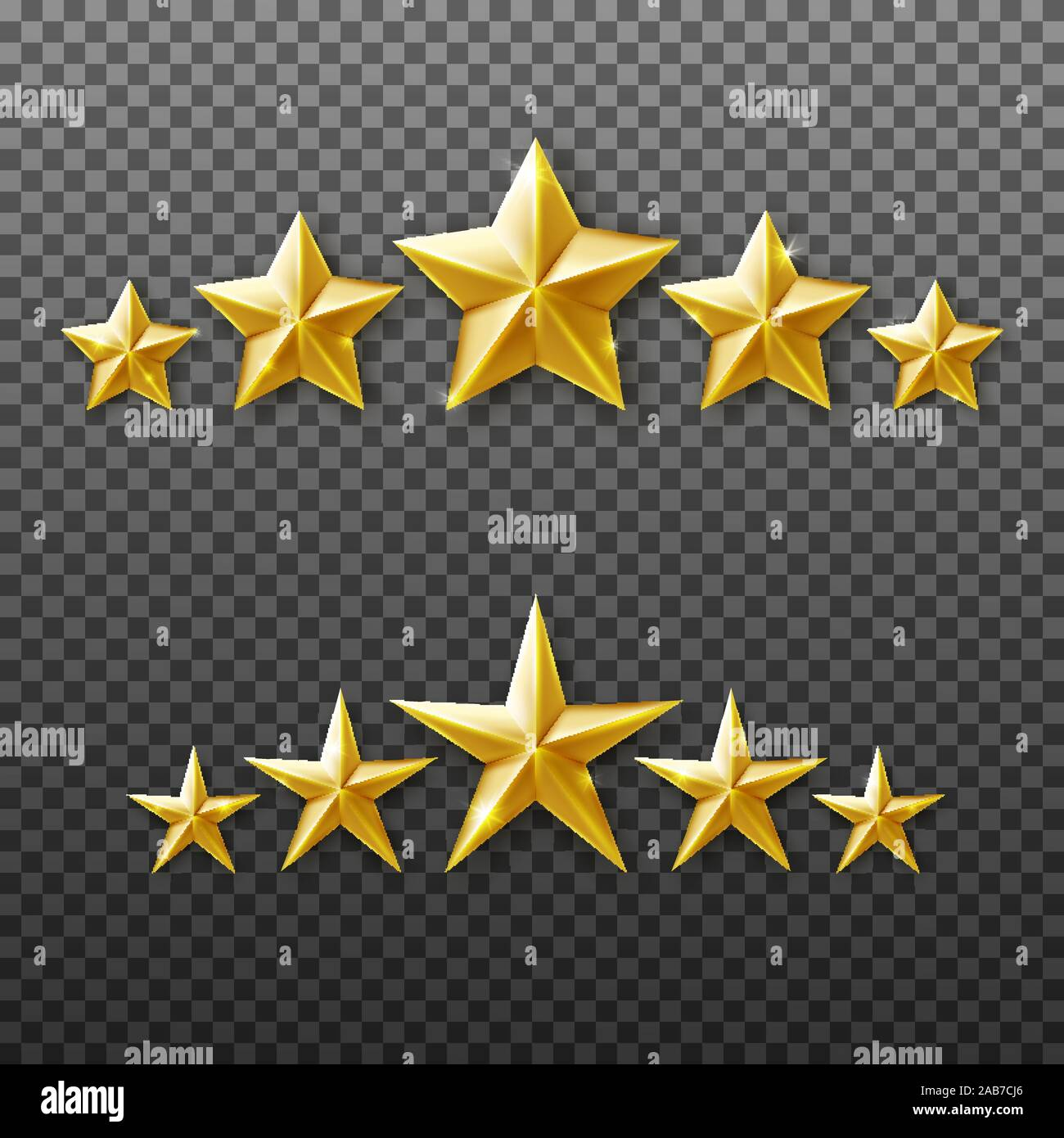5 Gold Stars Rating Set Isolated On Transparent Background Stock