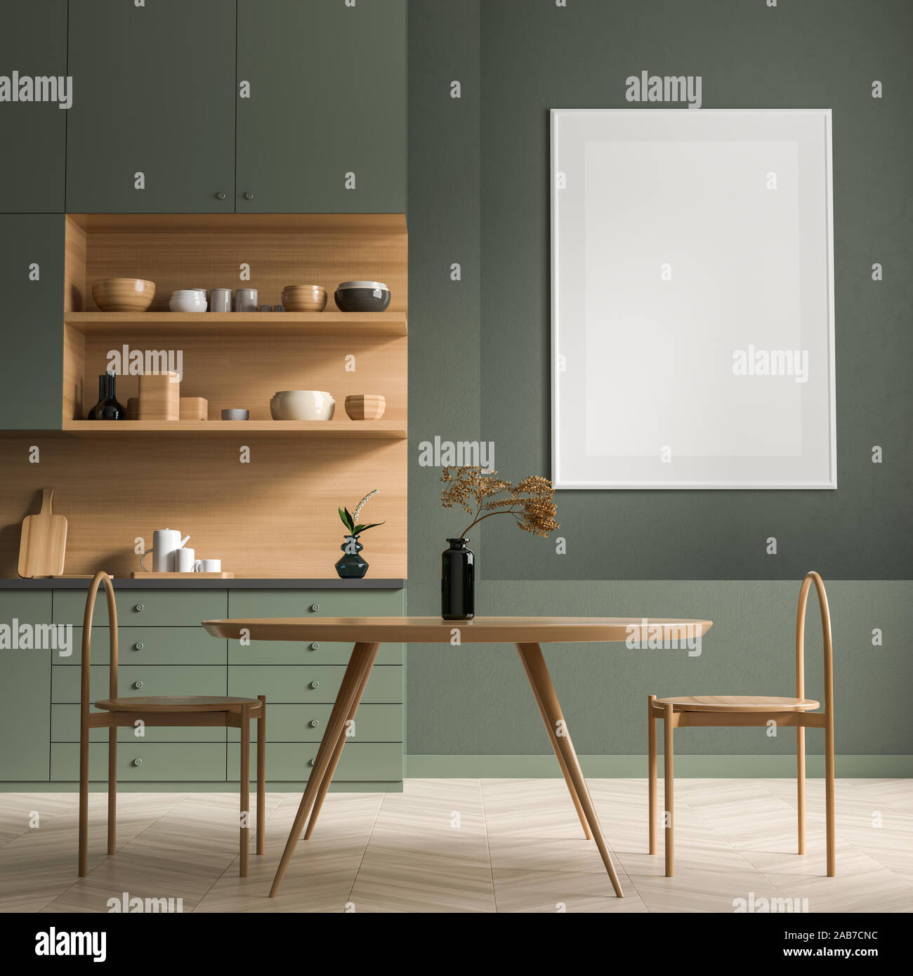 Scandinavian Style Dining Room With Wooden Chair And Table Minimalist Dining Room Design 3d Illustration Stock Photo Alamy