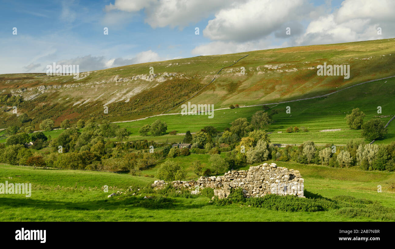 Isolated ruins of old sunlit field barn wall in scenic hillside valley, farmland & upland hills - Arncliffe, Littondale, Yorkshire Dales, England, UK Stock Photo