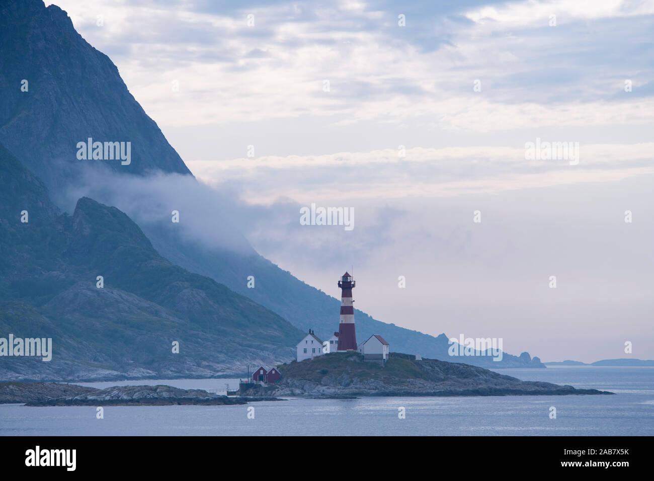 The Landegode lighthouse near Bodo on the north west coast of Norway, Scandinavia, Europe Stock Photo