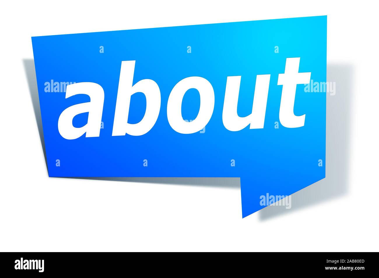 """Ein blaues Etikett vor weissem Hintergrund mit der Aufschrift: """"about"""" Stock Photo"""