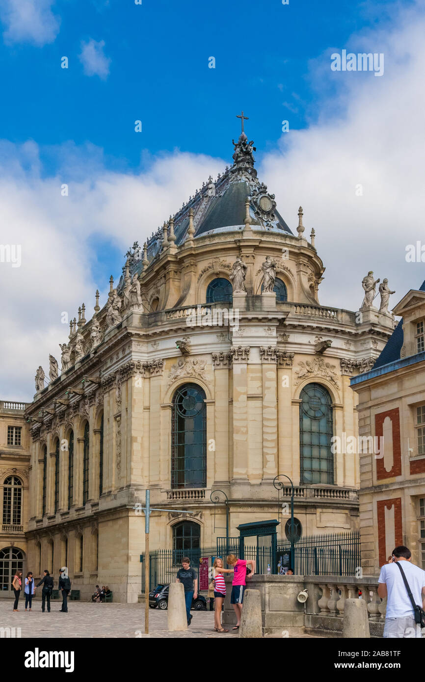 Great view of the Royal Chapel of the famous Palace of Versailles in portrait format. The historical monument and UNESCO World Heritage site was... Stock Photo