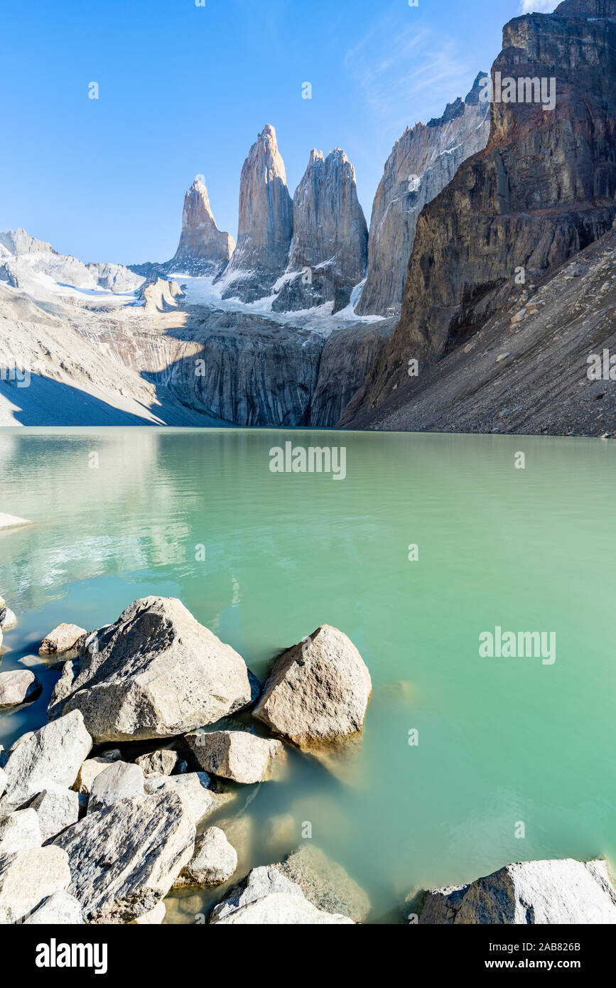 Mirador Base Las Torres, glacial green lake and the Three Towers in the background, Torres del Paine National Park, Chile, South America Stock Photo