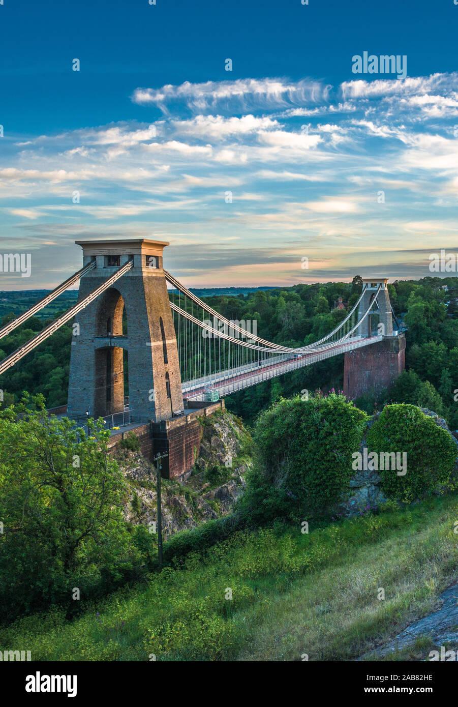 Historic Clifton Suspension Bridge by Isambard Kingdom Brunel spans the Avon Gorge with River Avon below, Bristol, England, United Kingdom, Europe Stock Photo