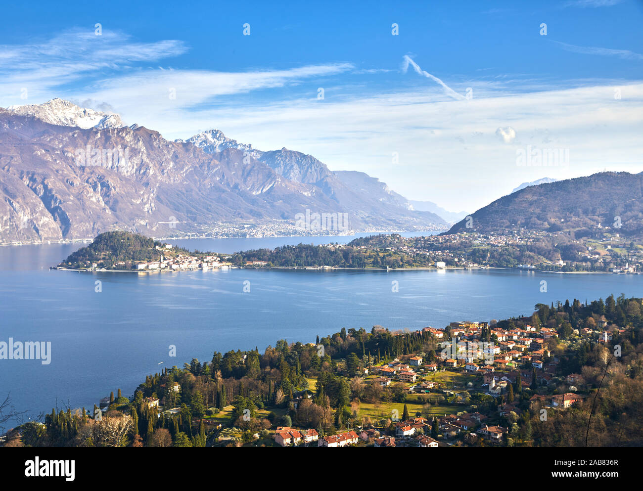 Bellagio and Varenna viewed from Griante on the western shore of Lake Como, Lombardy, Italian Lakes, Italy, Europe Stock Photo