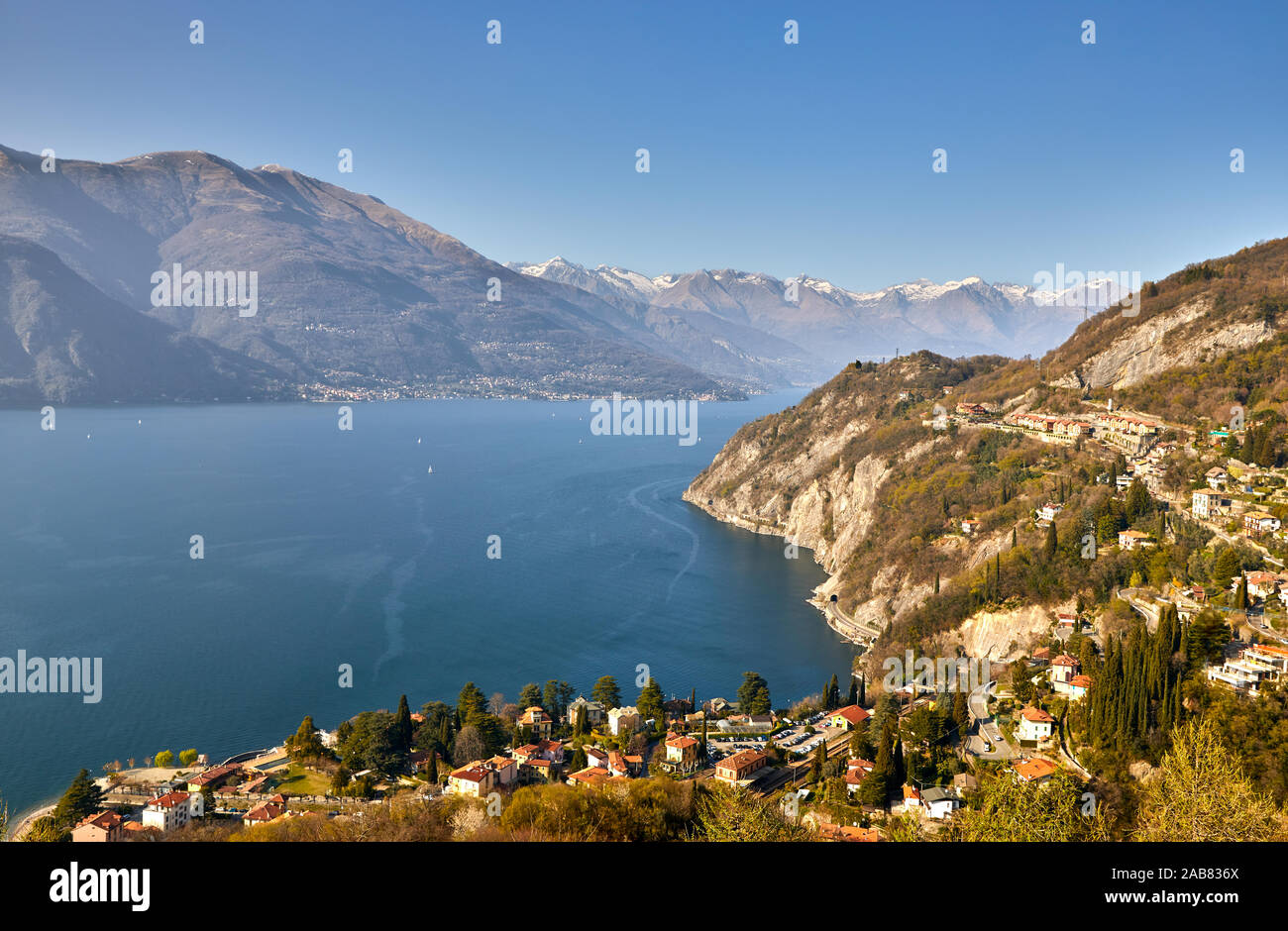 High angle view of Lake Como from Castle Vezio with Varenna and Gittana, Lombardy, Italian Lakes, Italy, Europe Stock Photo