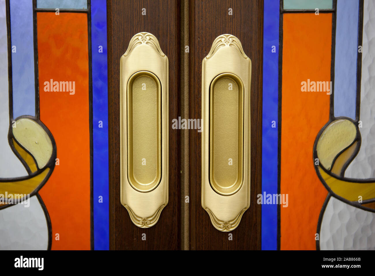 Close Up Of Kitchen Cabinet Door Knobs Stock Photo Alamy