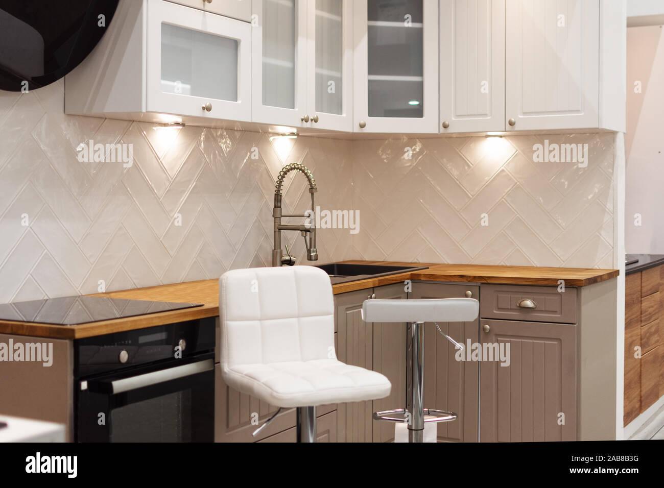 Interior Design Of A Luxury Modern Kitchen Wooden And White
