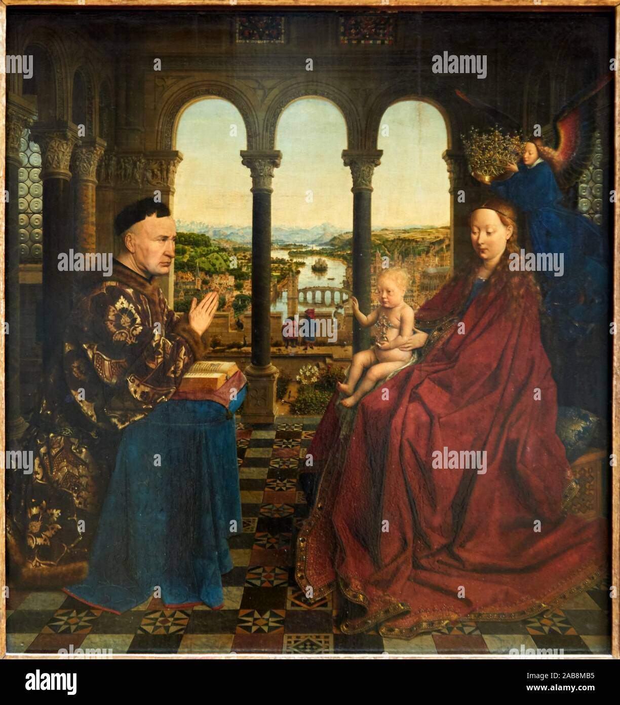 """""""Virgin and Child with Chancellor Rolin"""", 1434, Jan van Eyck, Musée du Louvre, Paris, France, Europe Stock Photo"