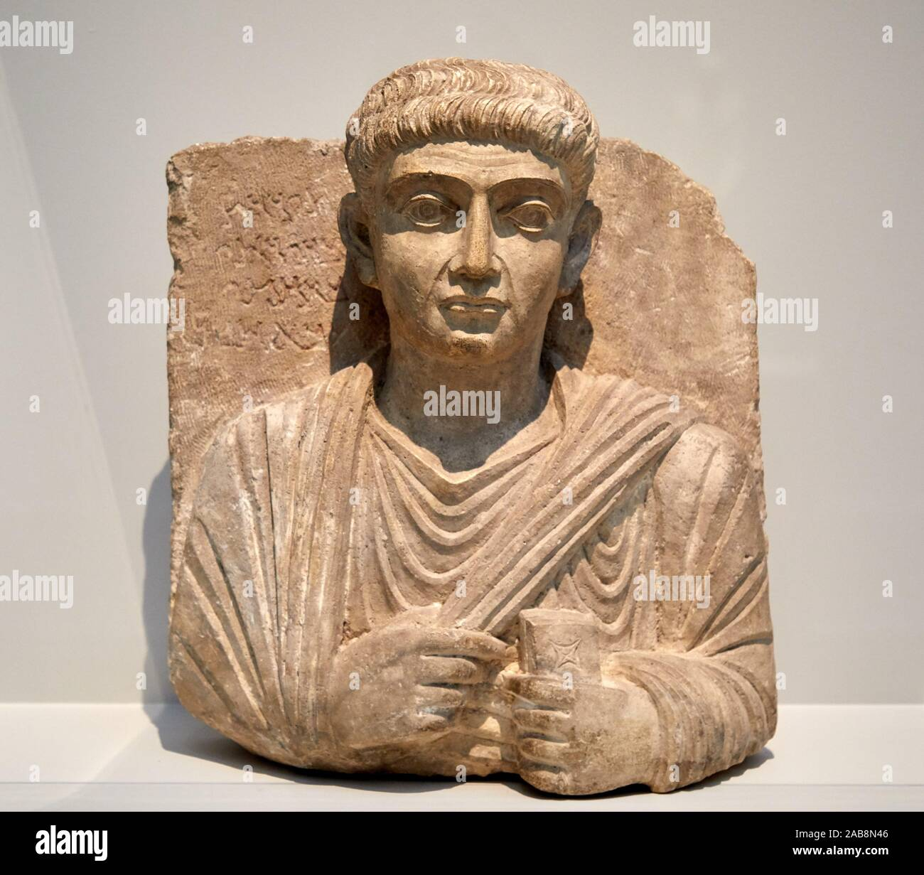 """""""Male Bust"""", First half of 2nd century AD. Limestone, Funeral Stele (Palmyra, Syria), Museo de Bellas Artes, Bilbao, Bizkaia, Basque Country, Spain Stock Photo"