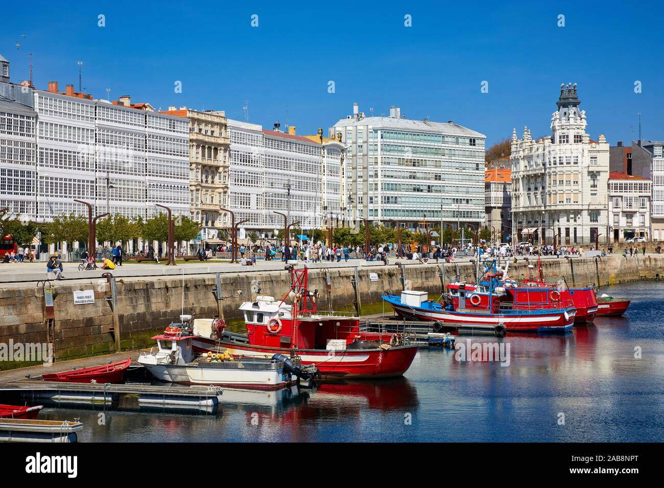 Avenida De La Marina And Harbour A Coruña Galicia Spain Stock Photo Alamy