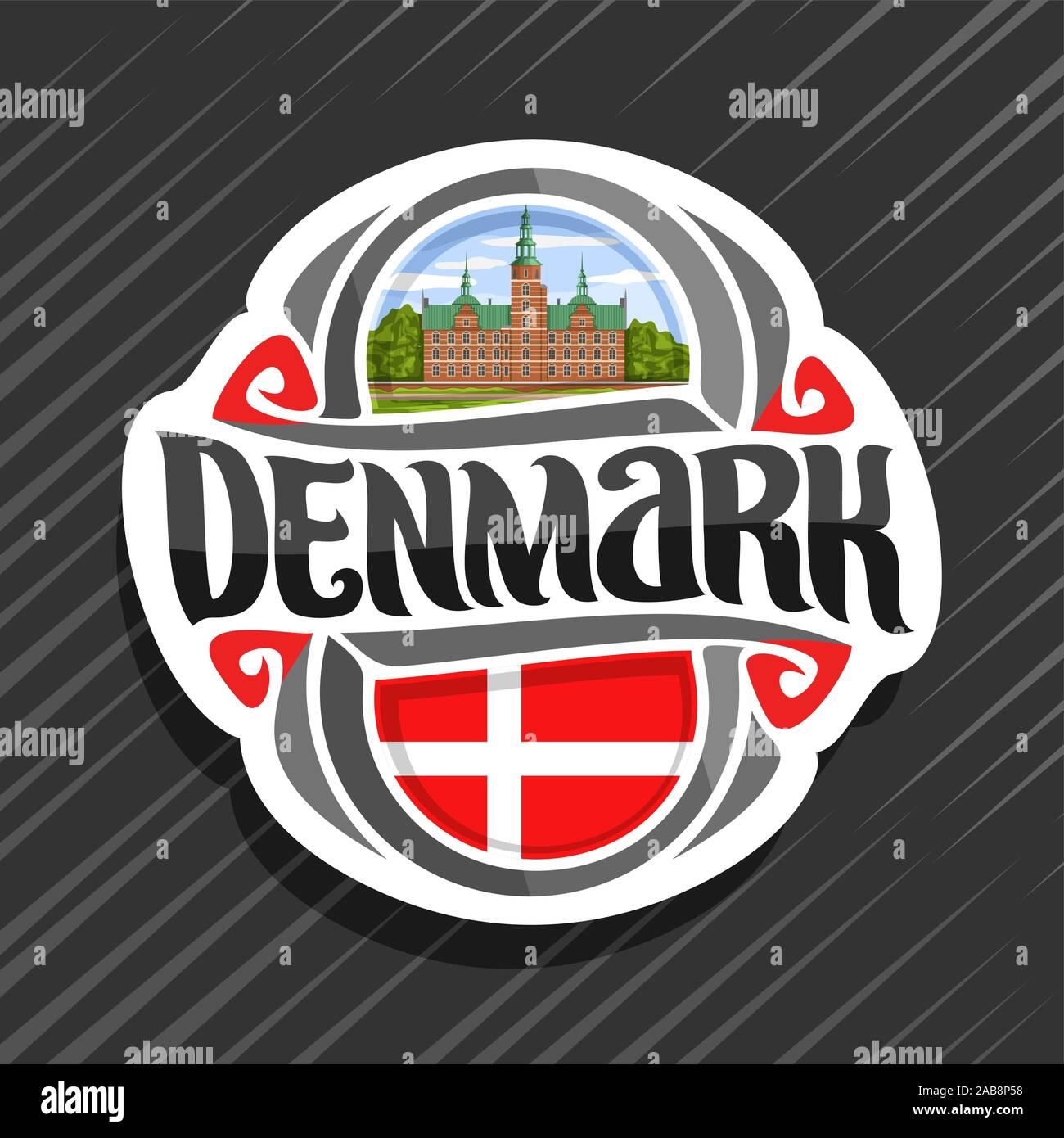 Vector logo for Denmark country, fridge magnet with danish state flag, original brush typeface for word denmark and danish national symbol - Rosenborg Stock Vector