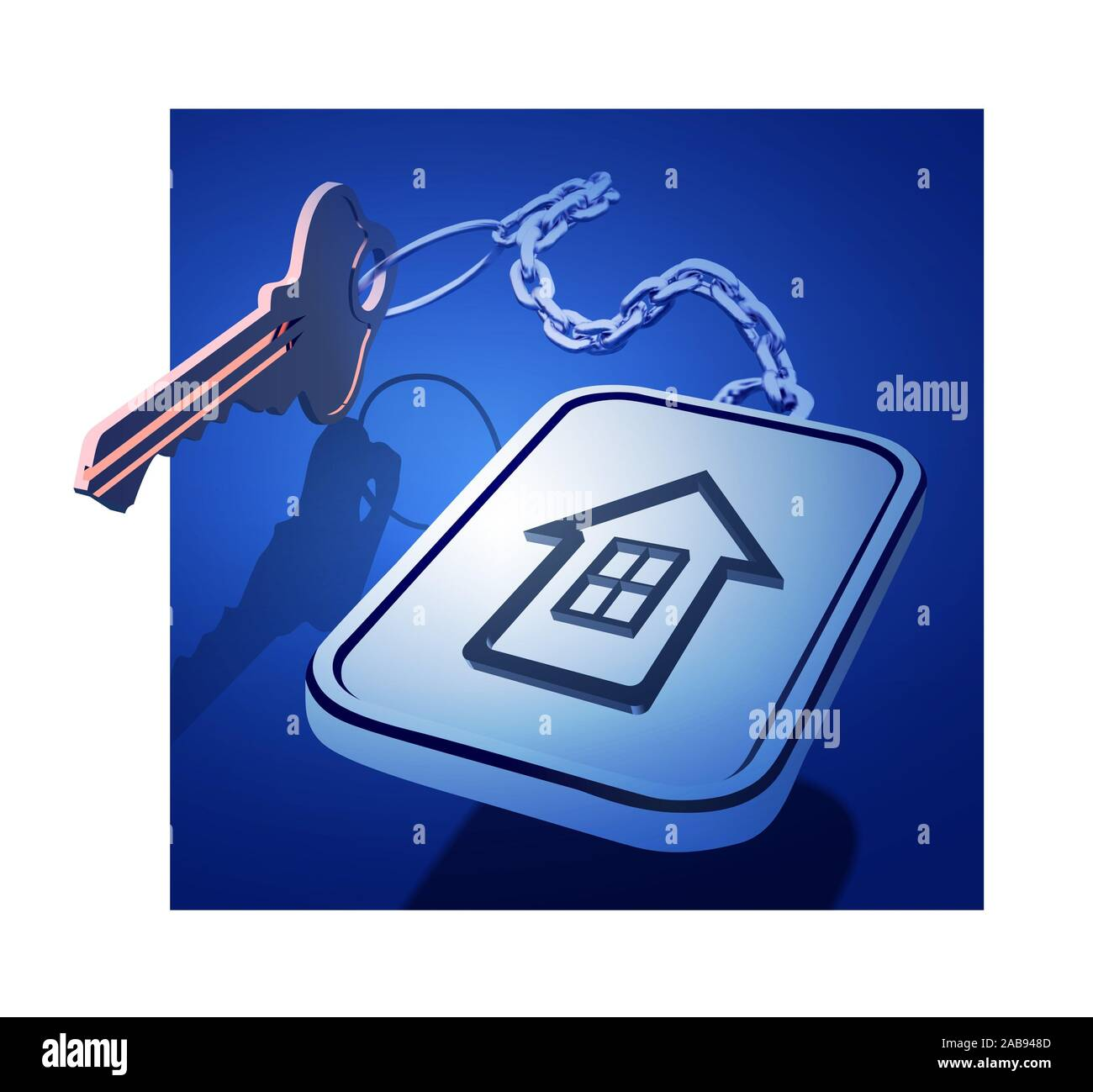 Keys with a keychain on a chain with a house icon. The concept of working with real estate, or the development of new housing. Vector 3d illustration. Stock Photo