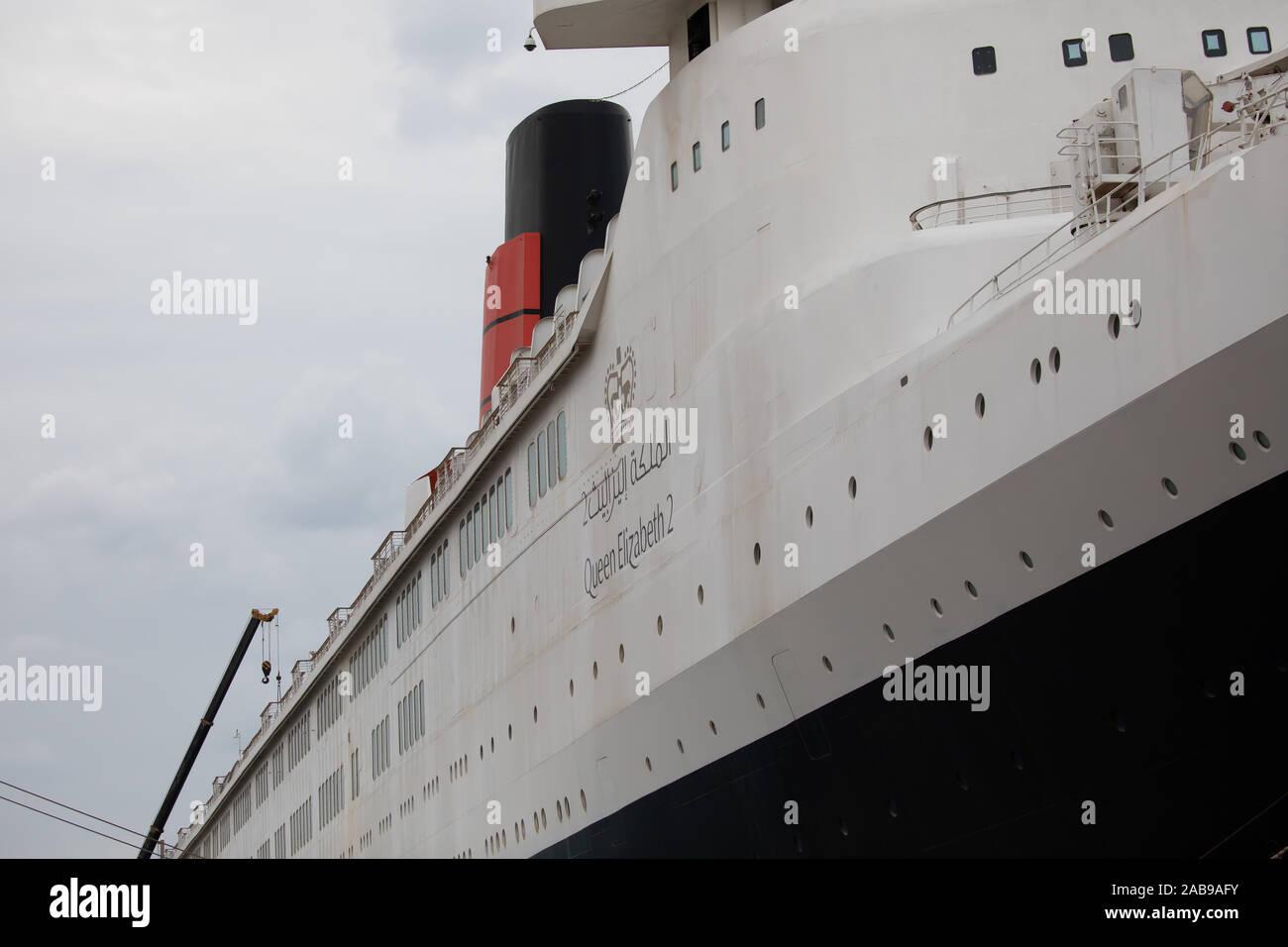 Queen Elizabeth 2 Docked In Dubai Uae Is Now A Floating Hotel Stock Photo Alamy