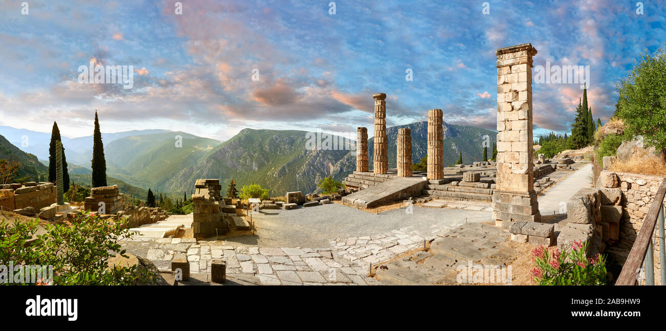 Doric coloums of Delphi Temple of Apollo. and ruins of Delphi archaeological site, Delphi, Greece Stock Photo