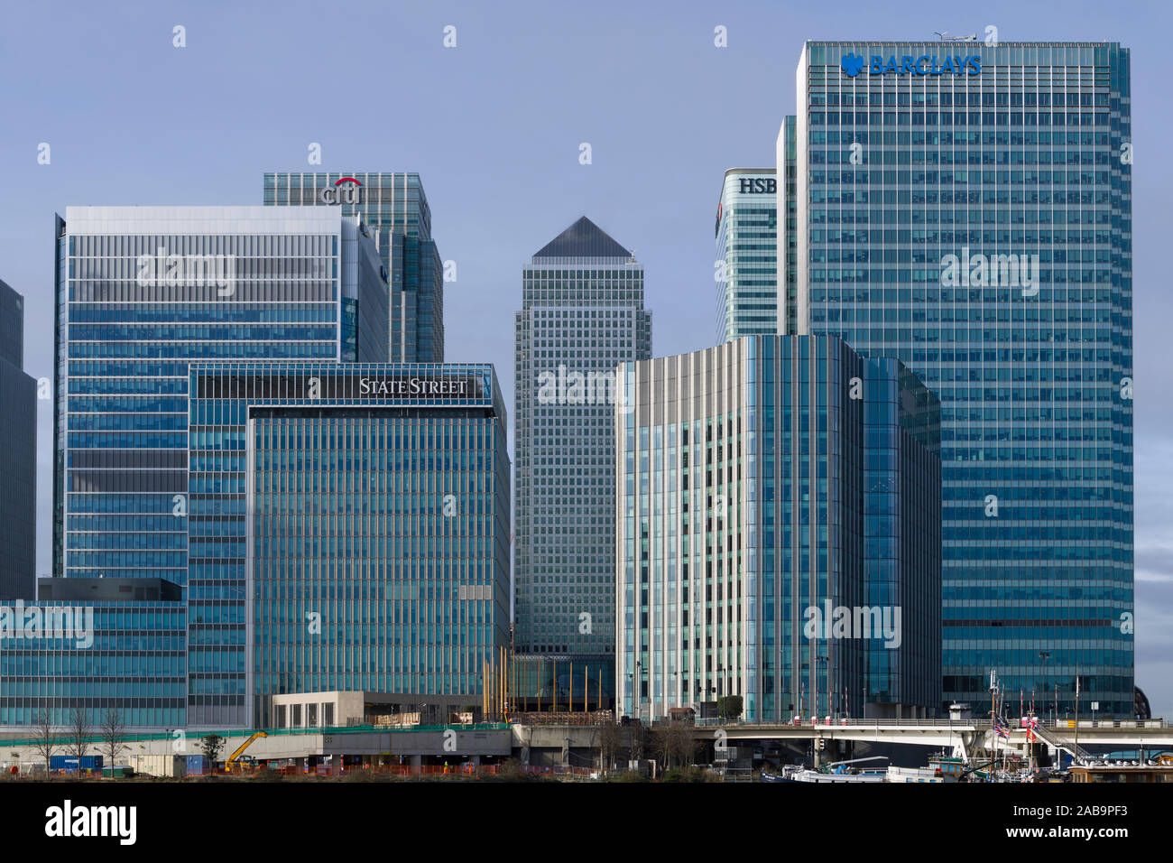 Citi bank, State Street, One Canada Square, HSBC and Barclays Bank building, Canary Wharf, Financial district, London, UK  Canary Wharf business distr Stock Photo