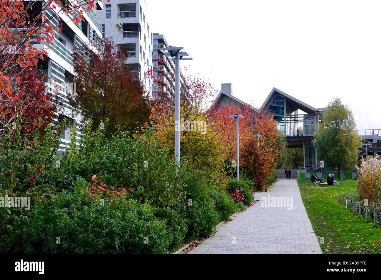 Autumn in Martin Luther King Park in the 17th arrondissement, with fall color, Paris, France. Stock Photo