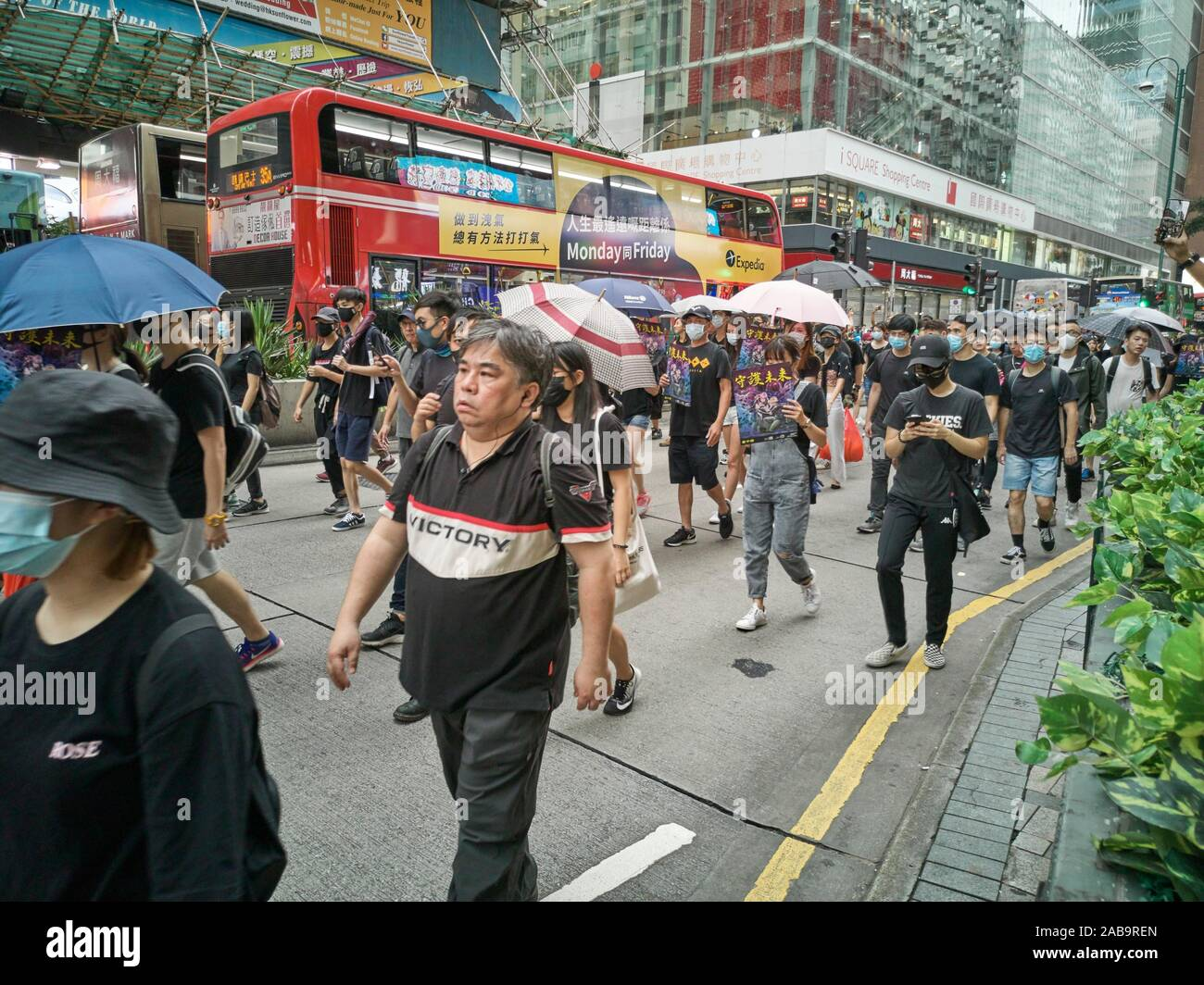 Hong Kong, Hong Kong SAR - August 3, 2019: Protesters rallying in Nathan Road in the latest opposition to a planned extradition law that has evolved Stock Photo
