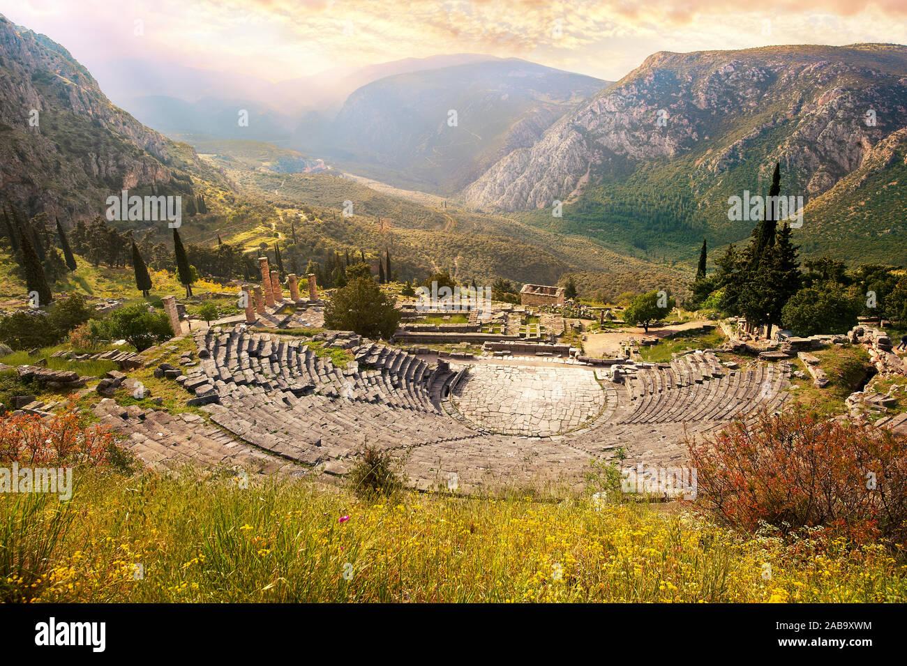 Ancient Greek Theatre of Delphi, Delphi Archaeological site, Delphi, Greece Stock Photo