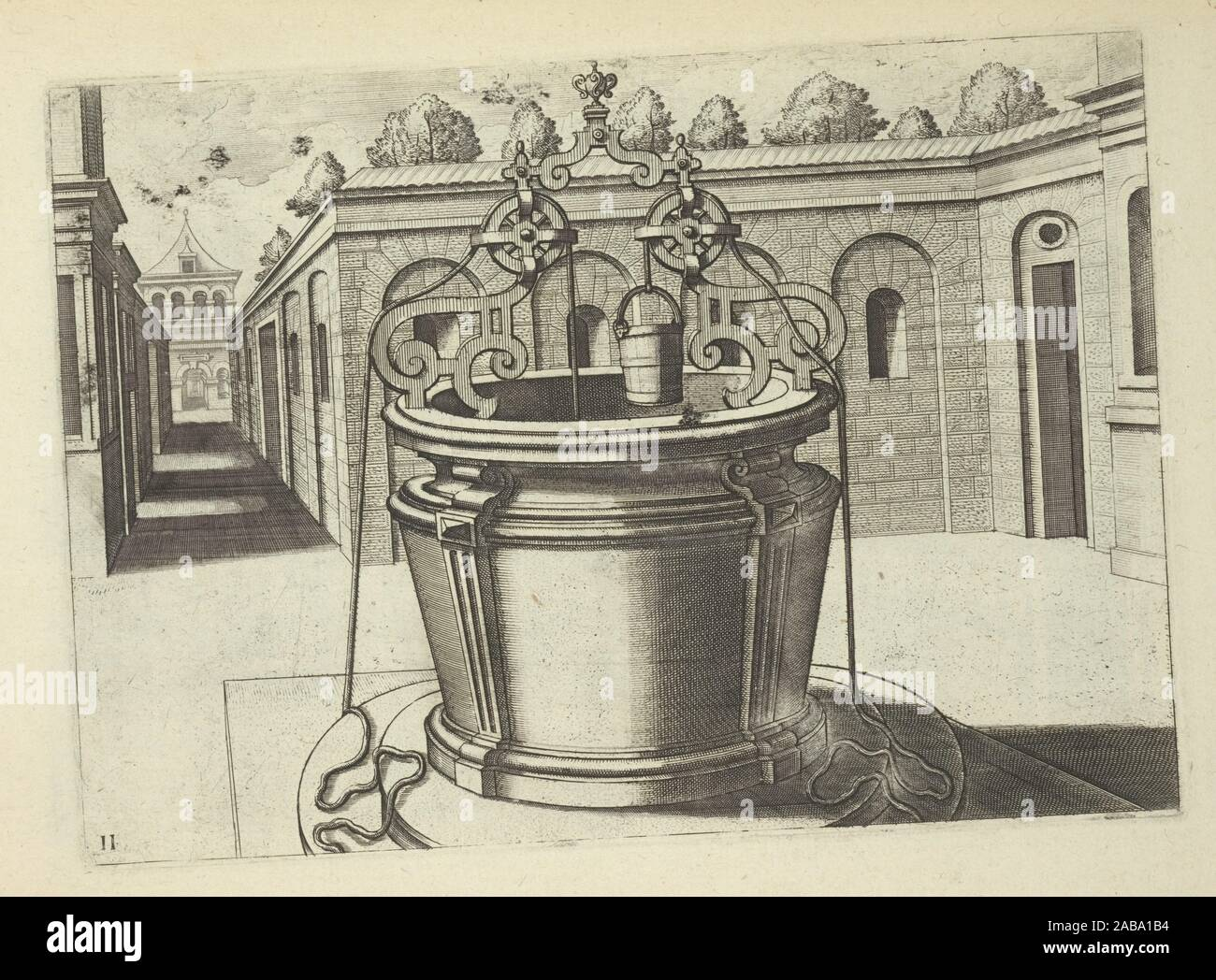 Double pulley well in plaza. Vredeman de Vries, Hans, 1527-ca. 1604 (Author) Galle, Philippe, 1537-1612 (Engraver). Puits et Fontaines: Magnifico Stock Photo
