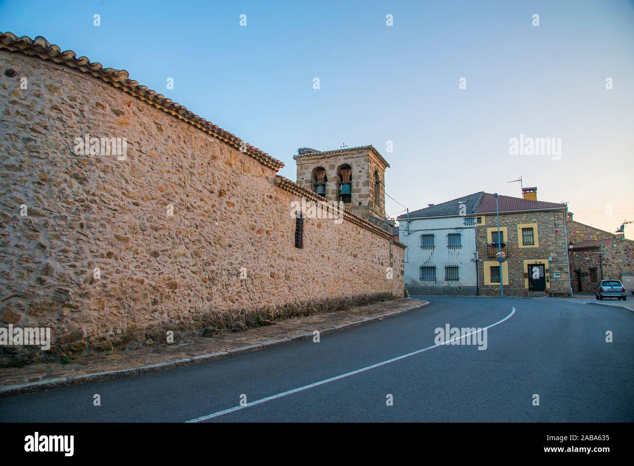 Church and street. Piñuecar, Madrid province, Spain. Stock Photo