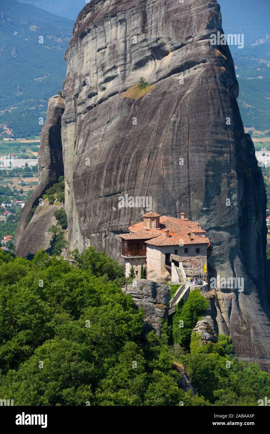 Holy Monastery of Rousanou, Meteora, UNESCO World Heritage Site, Thessaly, Greece Stock Photo