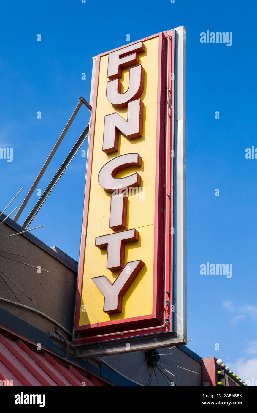 """""""Funcity"""" sign on the boardwalk in Ocean City, Maryland, USA. Stock Photo"""