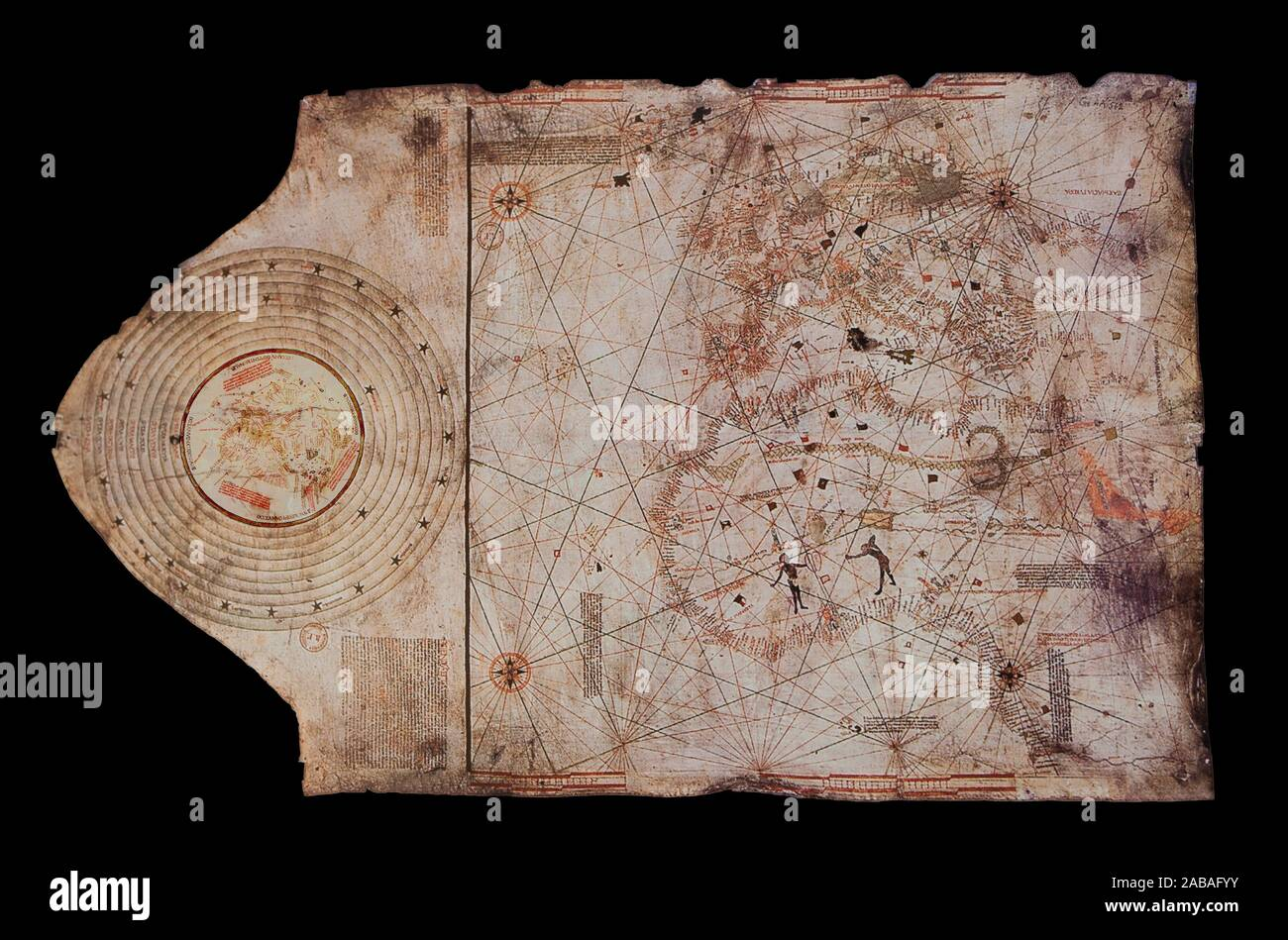 1492 Chart attributed to Christopher Columbus. Naval Museum of Madrid. Stock Photo