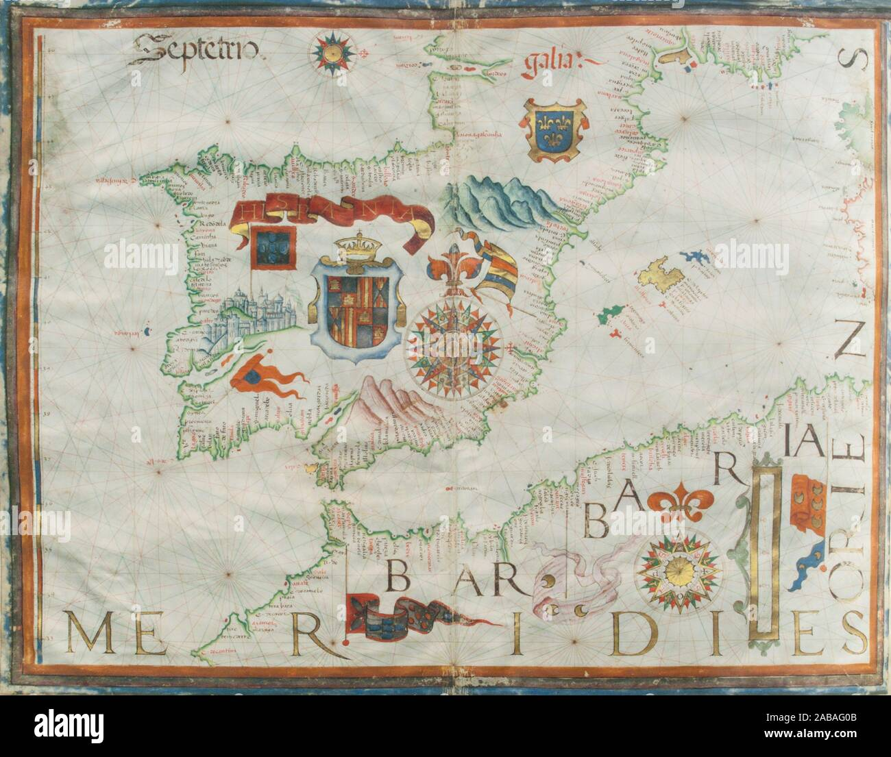 1561 Portulan map of Iberian Peninsula painted by Diego Homen. Original at Spanish Naval Museum. Stock Photo