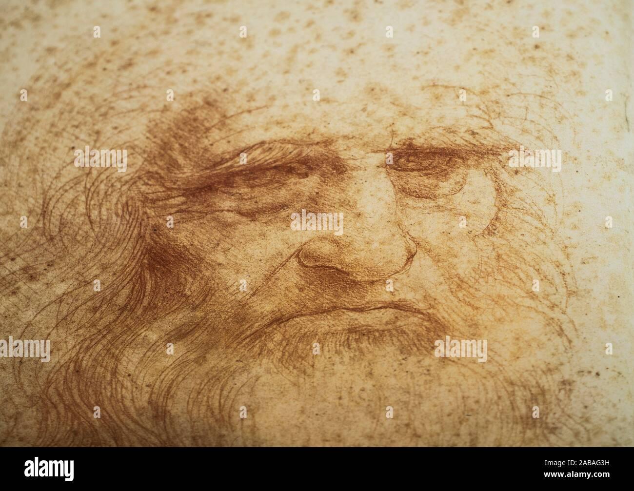 Leonardo da Vinci, Italian polymath of the Renaissance. Self Portrait in Red chalk, Turin Royal LIbrary. Stock Photo