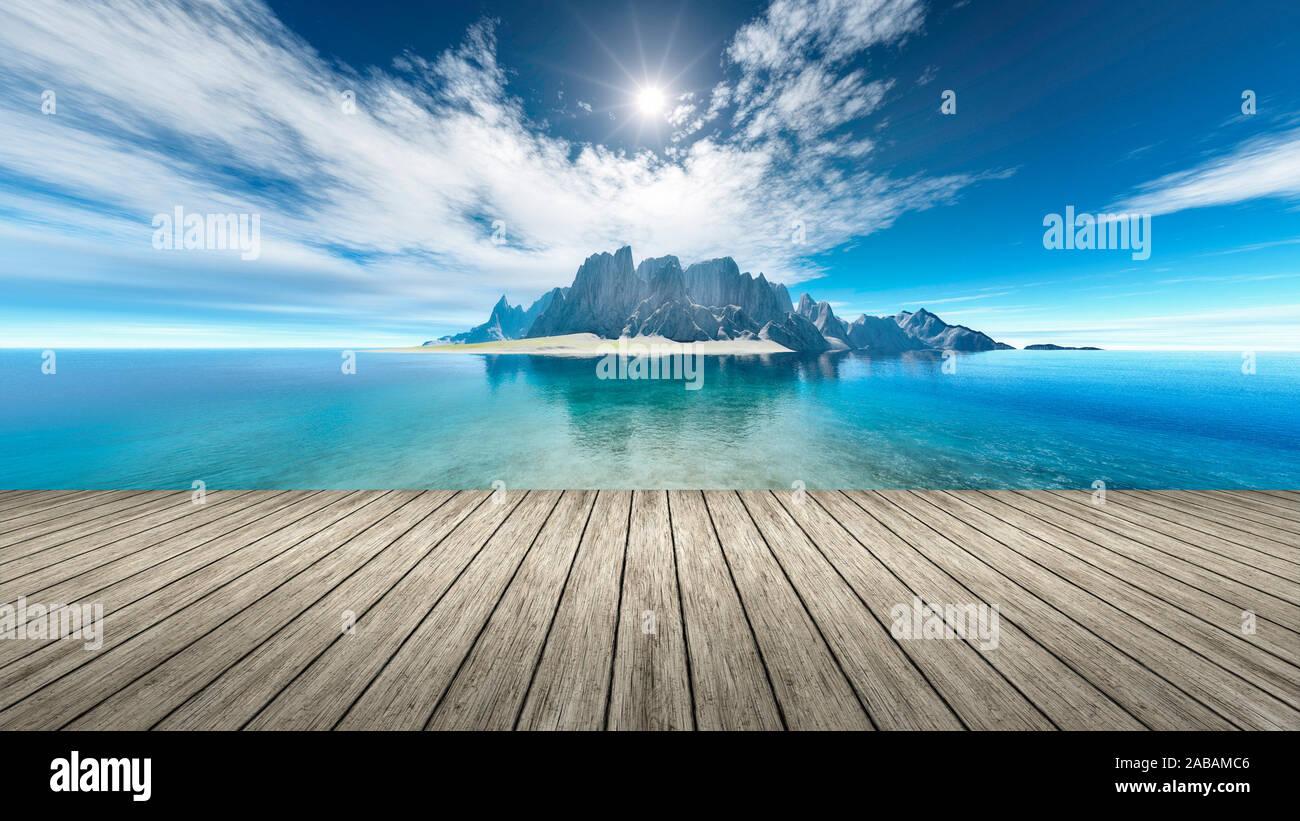 Sicht von einem Bootssteg aus auf eine Fantasie-Landschaft Stock Photo