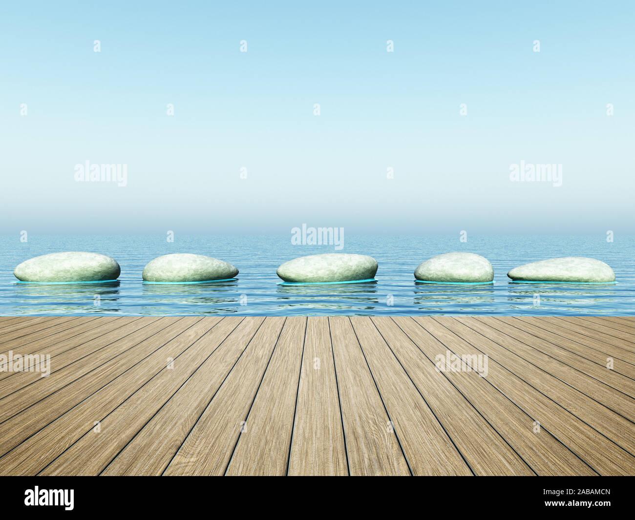 Sicht von einem Bootssteg aus auf Trittsteine Stock Photo