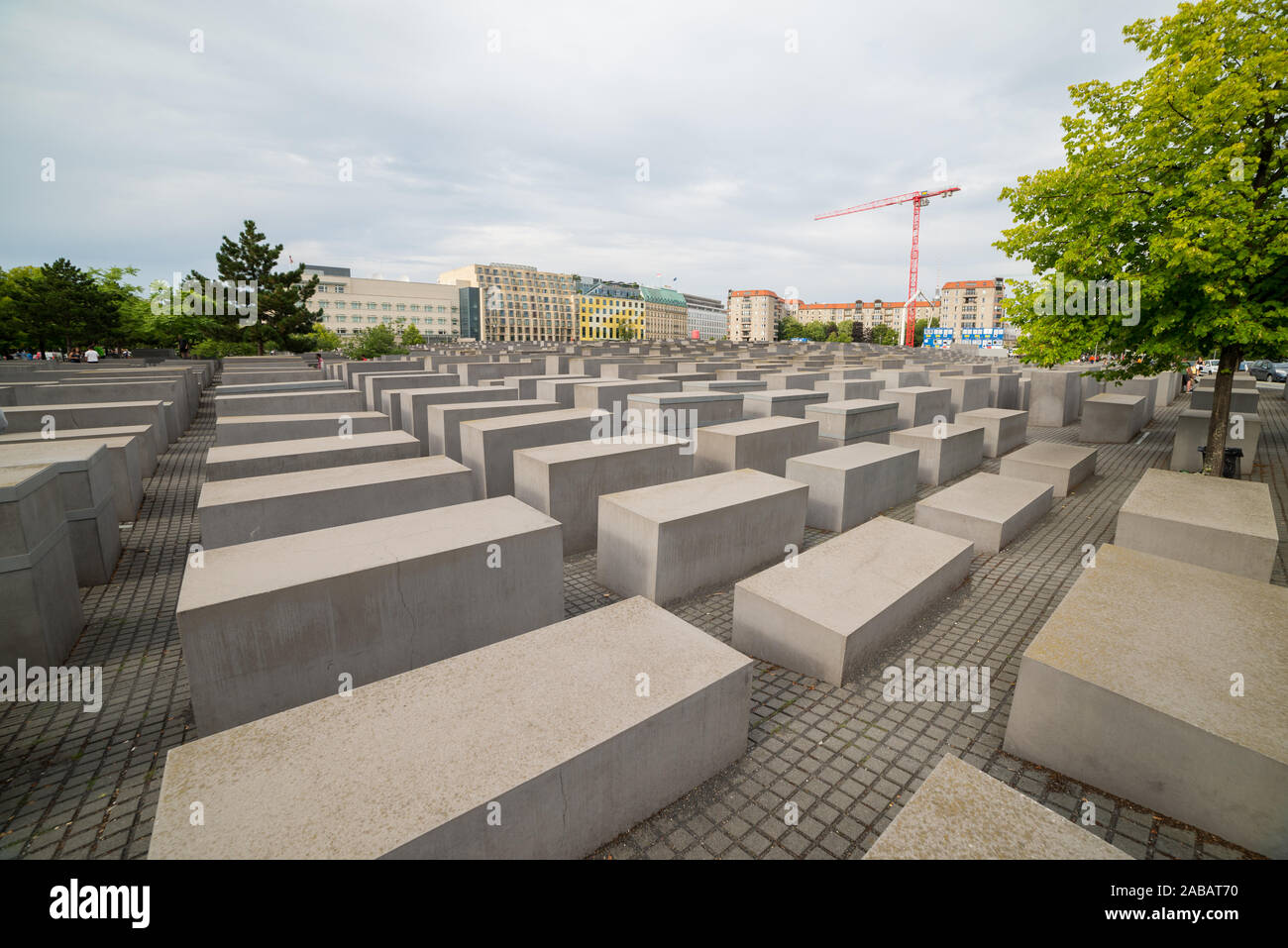 Berlin, Germany -  5 august 2019: visitors at monument to the memory of Holocaust victims and nazis Stock Photo