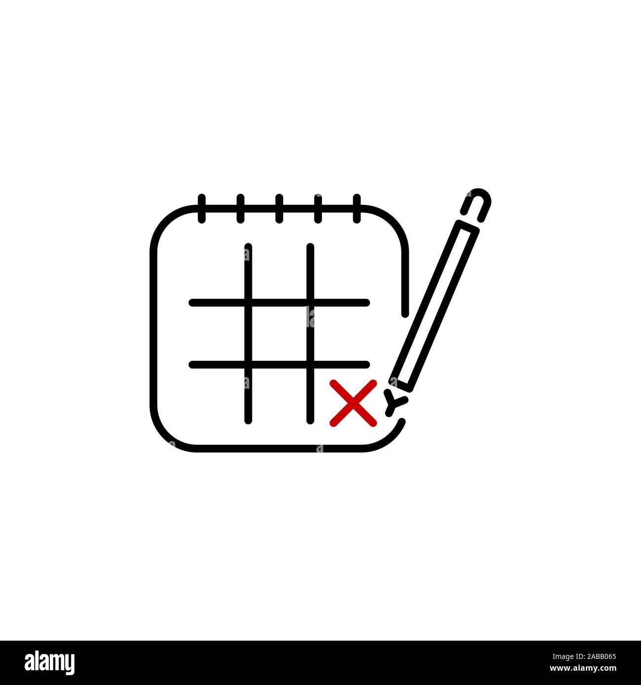 Calendar, pencil, marking day line, linear icon vector Stock Vector