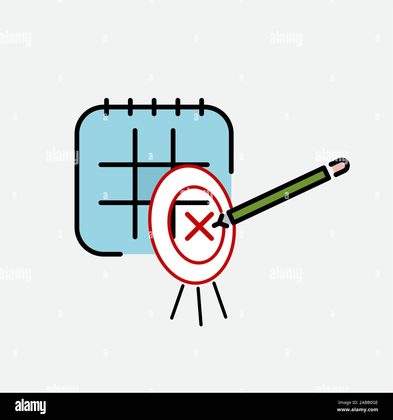 Calendar, pencil, marking day and target color icon vector. sign, symbol Stock Vector