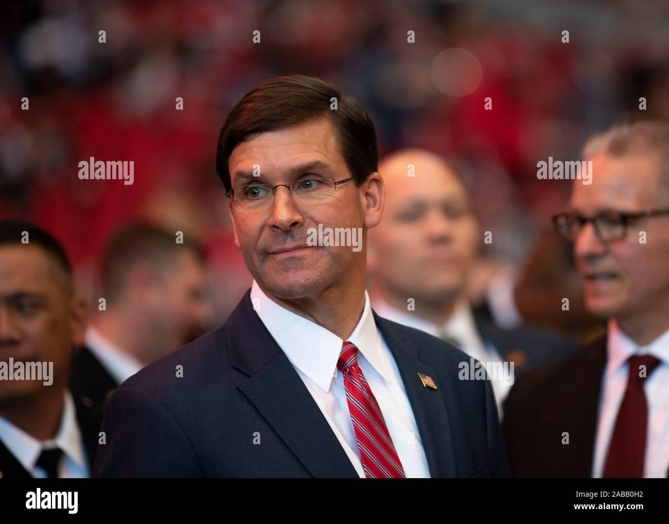 U.S Defense Secretary Mark Esper attends the Atlanta Falcons and Tampa Bay Buccaneers Salute to Service American football game November 24, 2019 n Atlanta, Georgia. Stock Photo