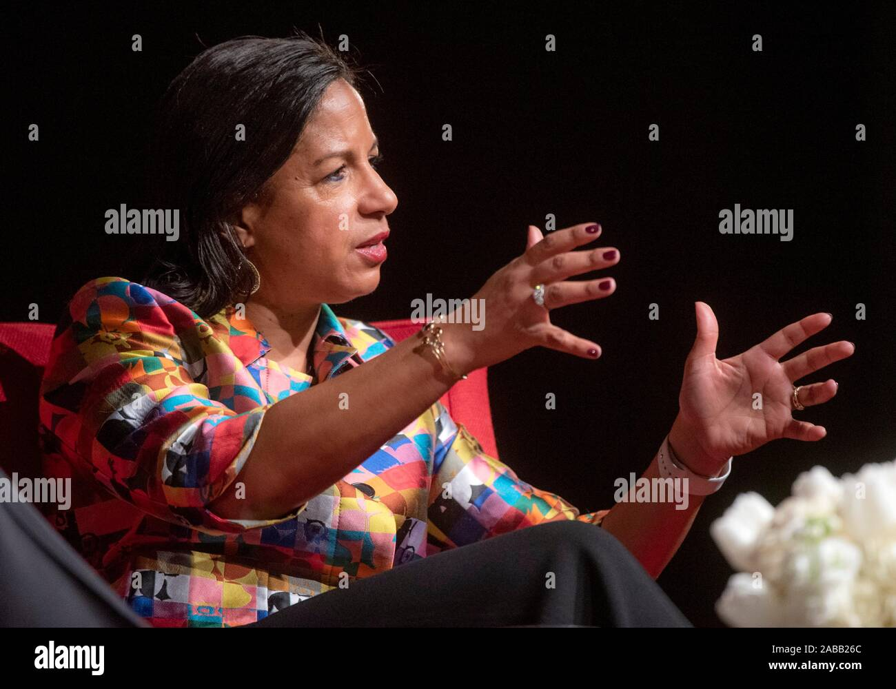 Susan E. Rice, former National Security Advisor to President Barack Obama and U.S. Ambassador to the United Nations during a discussion with Foundation Director Mark Lawrence, left, at the LBJ Presidential Library November 20, 2019 in Austin, Texas. Ambassador Rice is currently Distinguished Visiting Research Fellow at the School of International Service at American University Stock Photo
