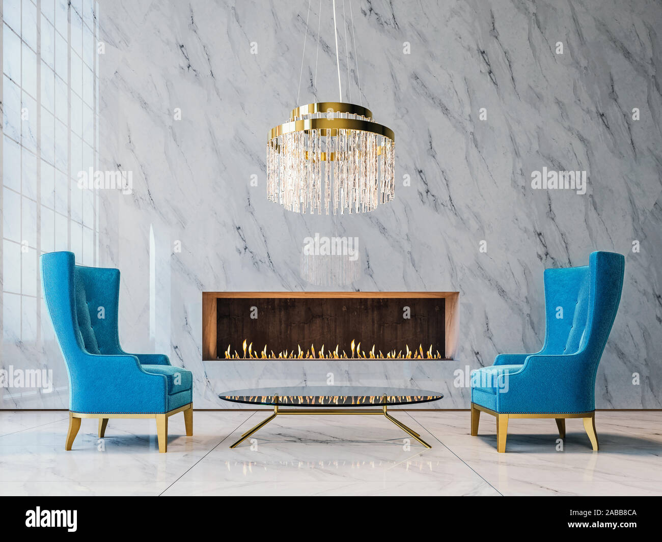 Luxury White Marble Mock Up Wall With Expensive Blue Armchairs Glass Chandelier And Modern Built In Fireplace Living Room 3d Render 3d Illustratio Stock Photo Alamy