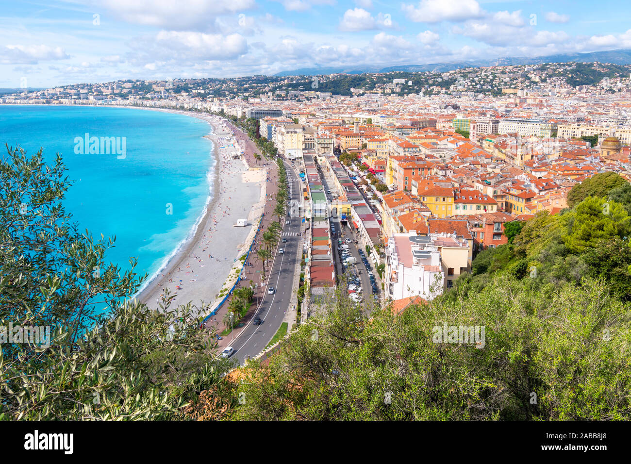 View from the Castle Hill Park of the Bay of Angels, Promenade des Anglais, Old Town and the city of Nice France on the French Riviera. Stock Photo