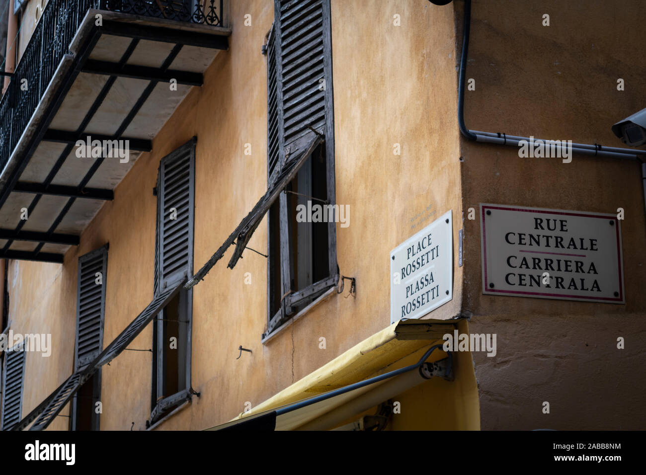 A street sign with the location and street near Place Rossetti piazza in the old town area of Nice, France. Stock Photo