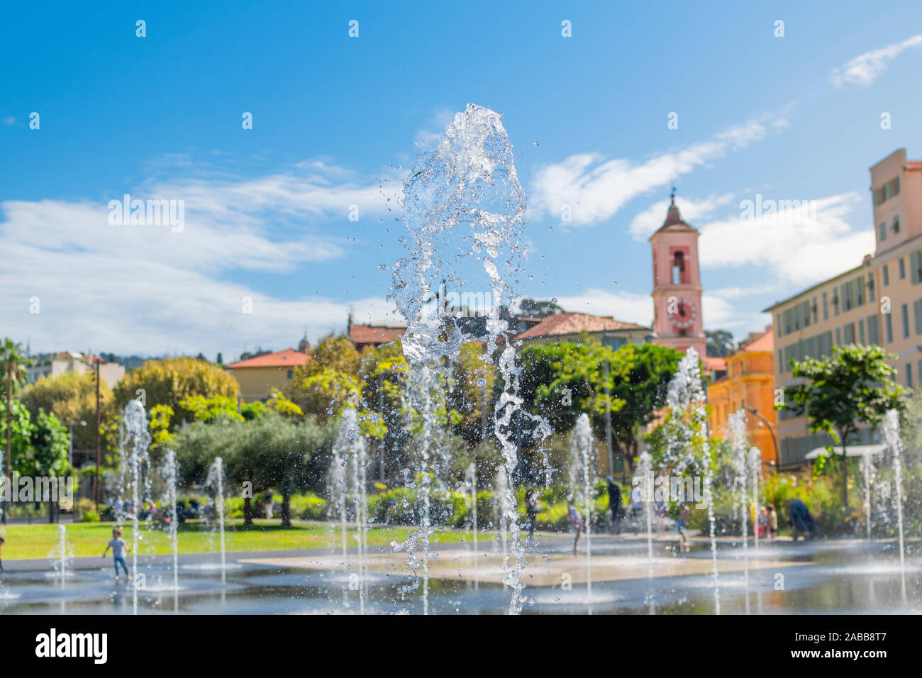 A stream of water and spray from the water feature at the Paillon Promenade park in Nice, France, on the French Riviera. Stock Photo