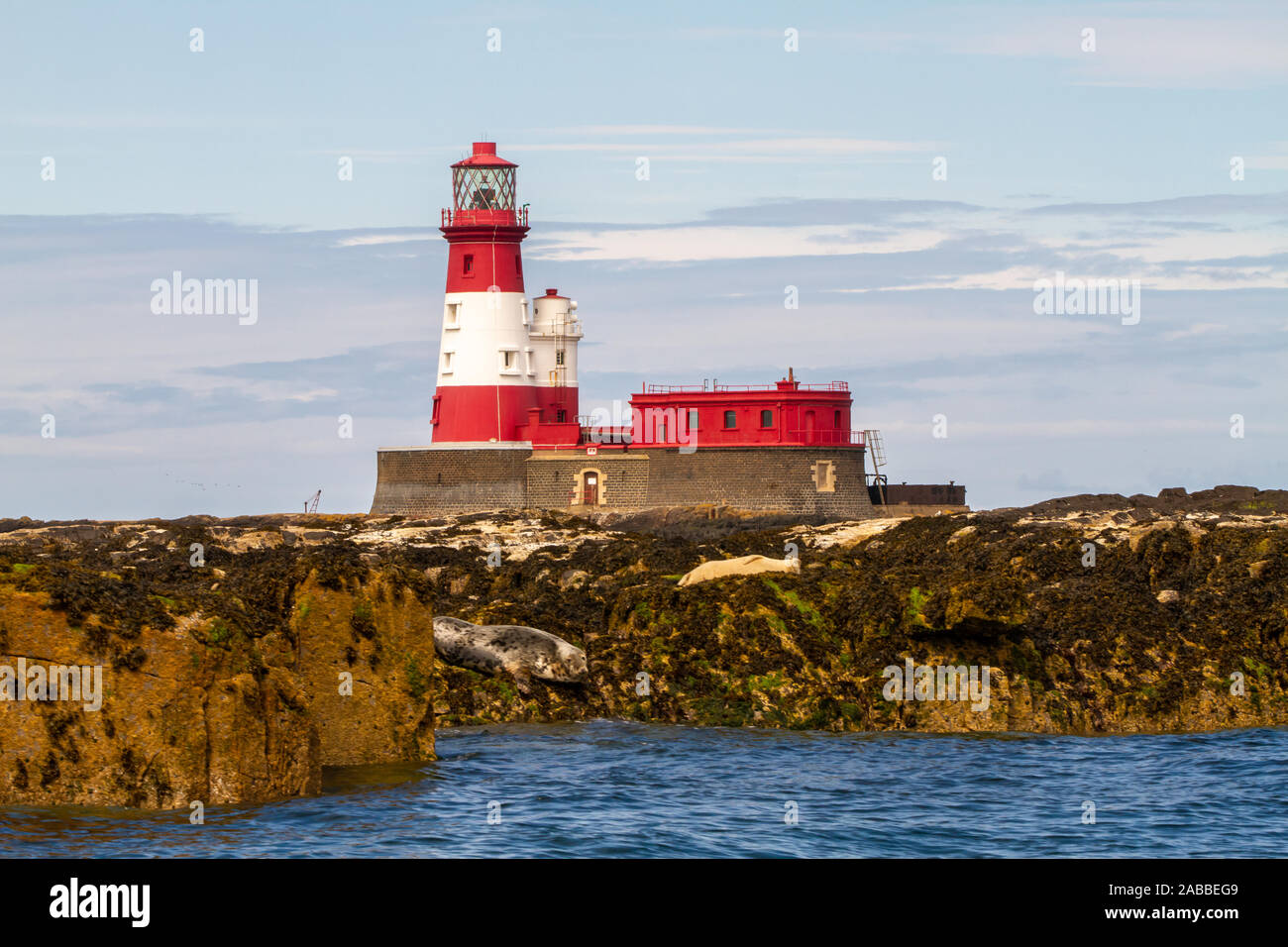 Longstone Lighthouse in white and red, on Longstone Rock in the outer group of the Farne Islands off the Northumberland Coast with seals in front Stock Photo